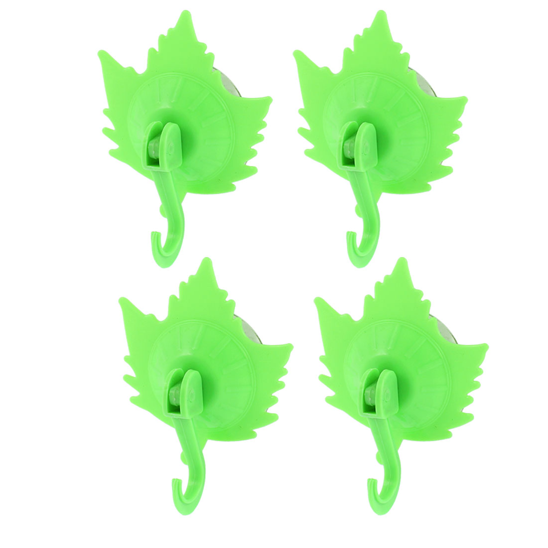 Household Towel Maple Leaf Design Suction Cup Hooks Wall Hangers Green 4pcs