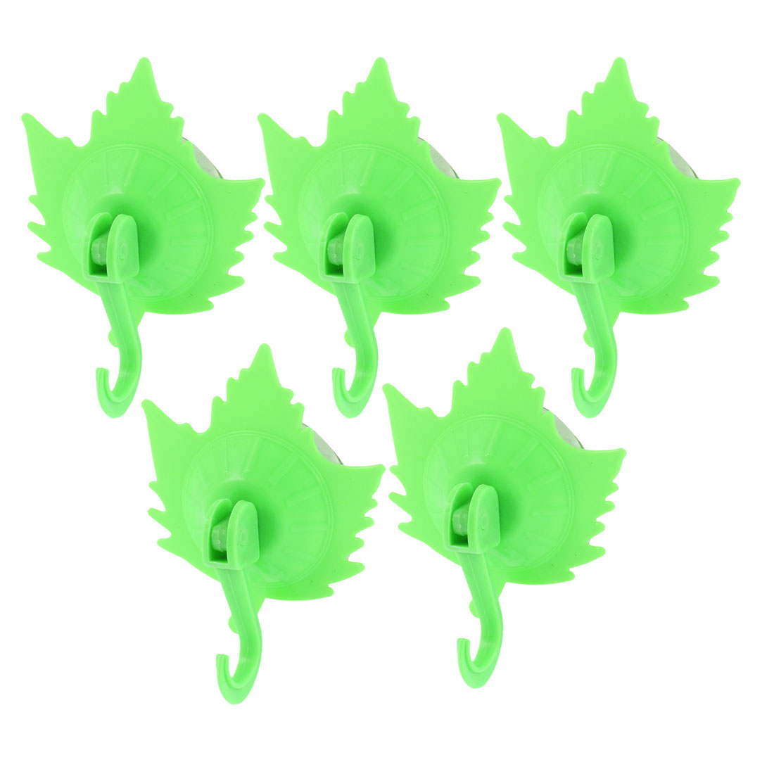 Home Clothes Coat Maple Leaf Design Suction Cup Hooks Wall Hangers Green 5pcs
