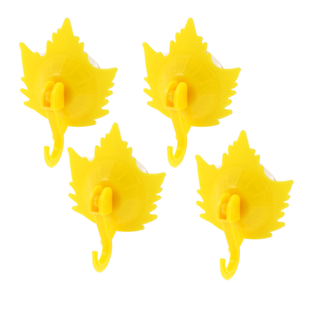 Household Towel Maple Leaf Design Suction Cup Hooks Wall Hangers Yellow 4pcs