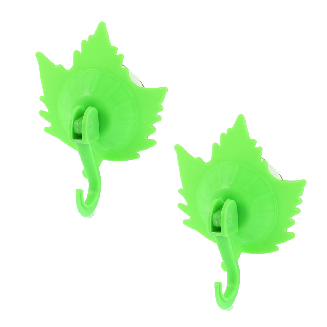 Bathroom Towel Maple Leaf Shaped Vacuum Suction Cup Hook Wall Hanger Green 2pcs