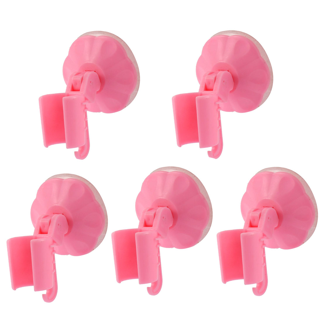 Bathroom Wall Mounted Suction Cup Shower Head Holder Bracket Pink 5pcs