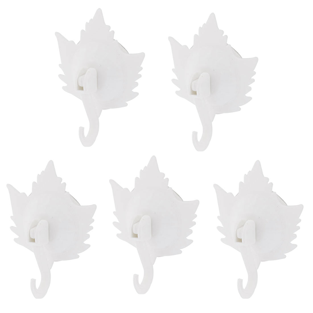 Home Clothes Coat Maple Leaf Design Suction Cup Hooks Wall Hangers White 5pcs