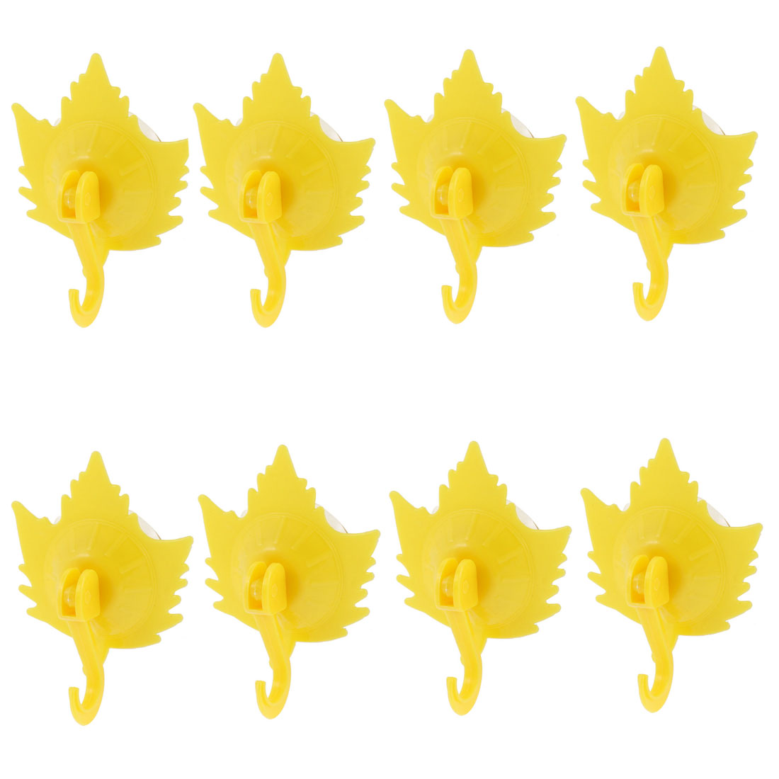 Home Clothes Maple Leaf Shaped Suction Cup Plastic Hooks Wall Hangers Yellow 8pcs