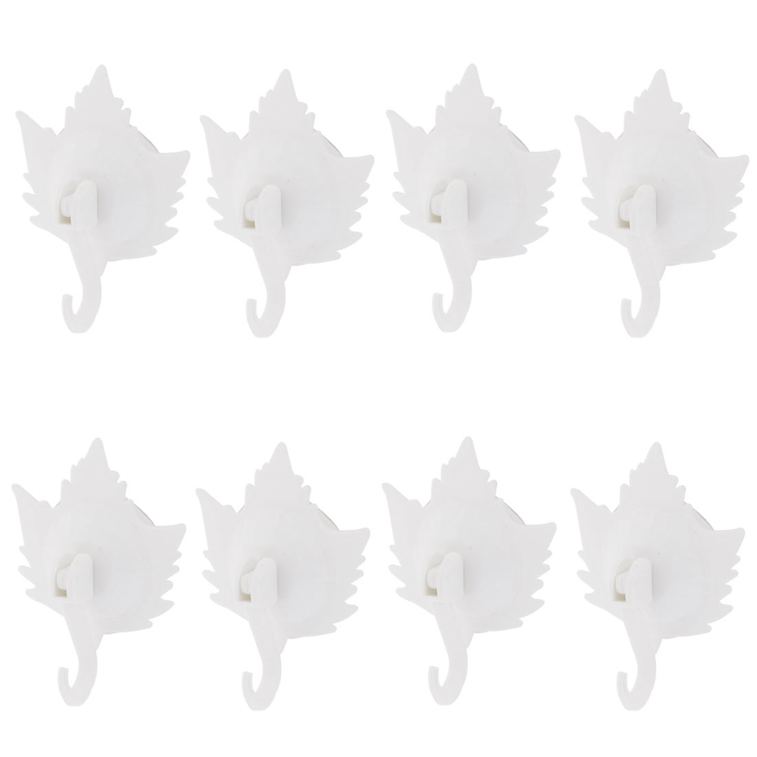 Home Clothes Maple Leaf Shaped Suction Cup Plastic Hooks Wall Hangers White 8pcs