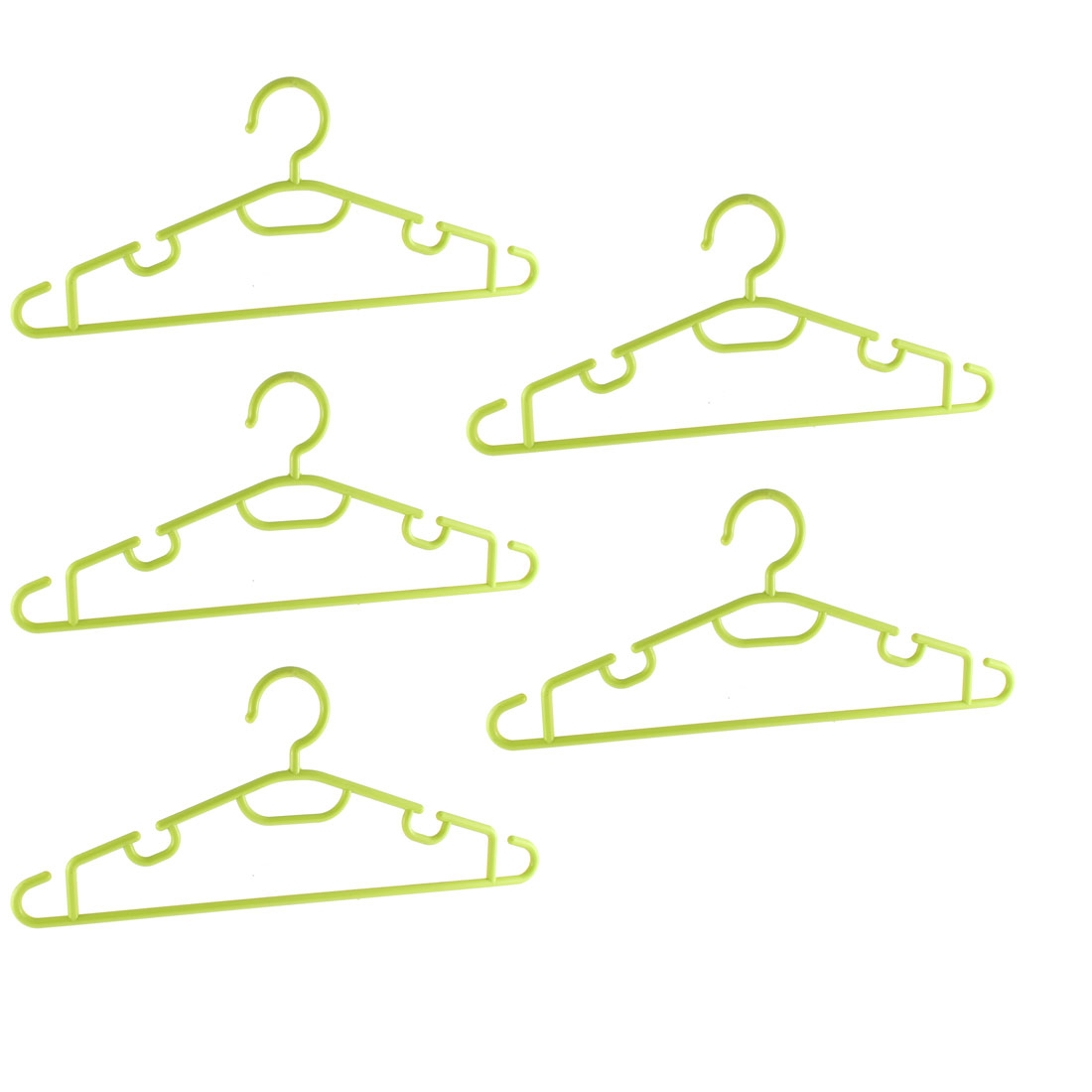 Household Clothes Garment Coat Plastic Hangers Light Green 5PCS