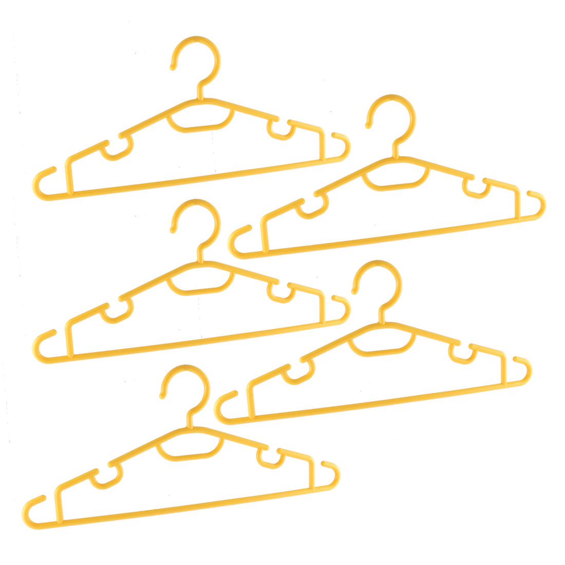 Laundry Clothes Garment Coat Plastic Hangers Yellow 5PCS