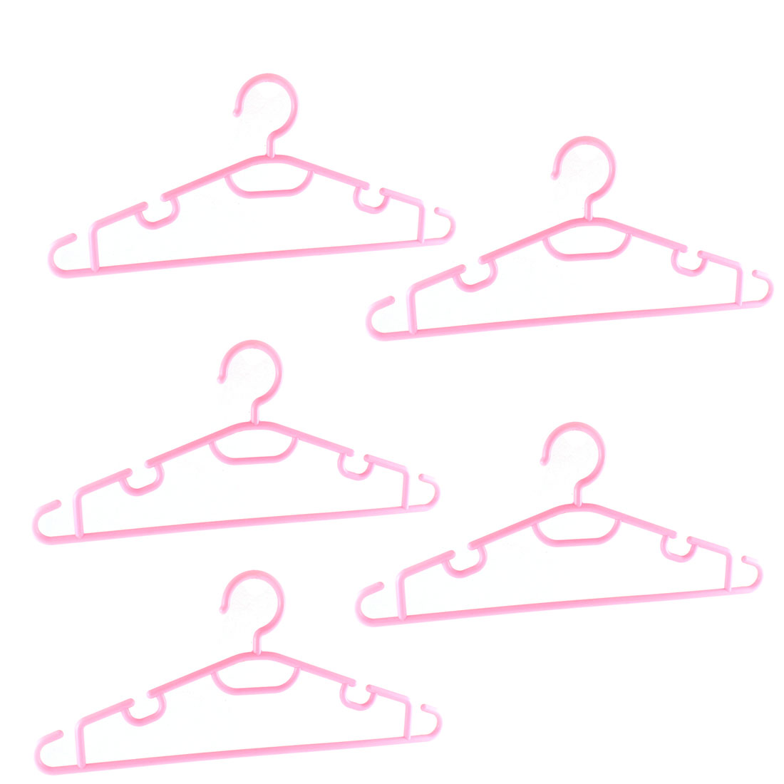 Household Clothes Garment Coat Plastic Hangers Pink 5PCS