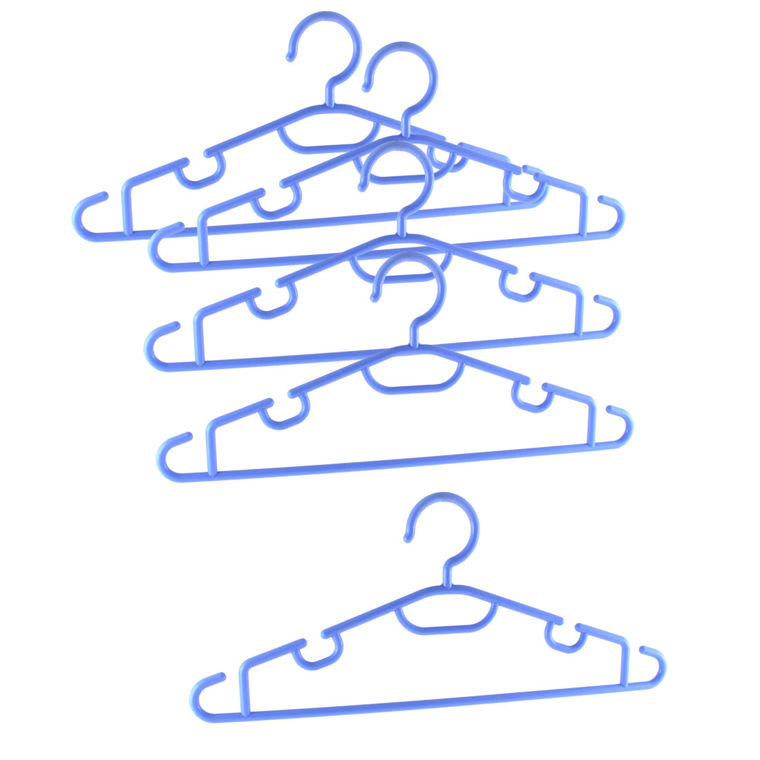 Household Wardrobe Clothes Coat Plastic Hangers Blue 5PCS