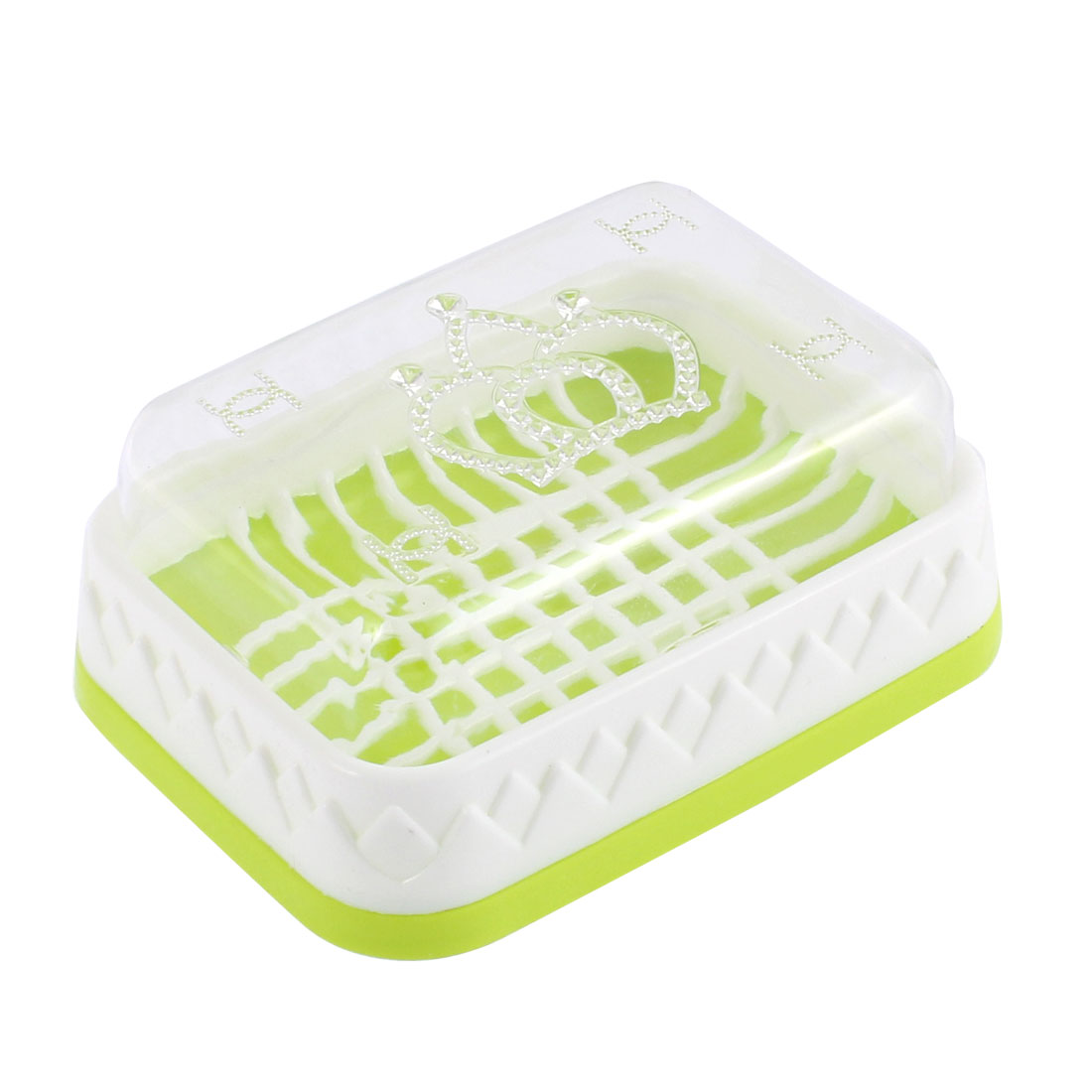 Bathroom Plastic Clear Cover Soap Box Container Light Green