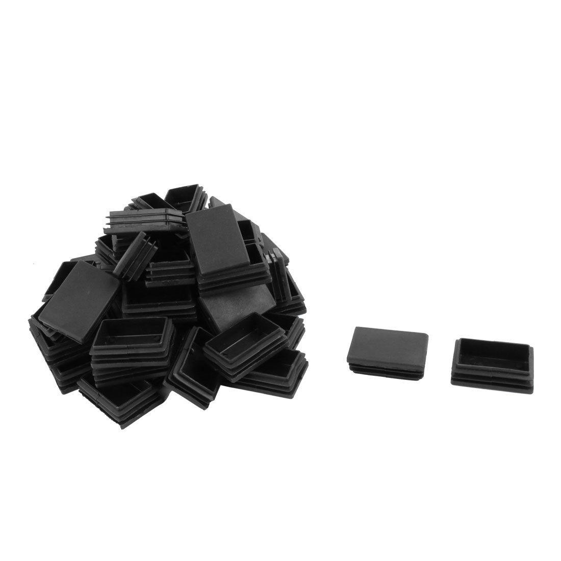 Plastic Blanking End Tube Caps Cover Inserts 40mmx60mm Black 50 Pcs