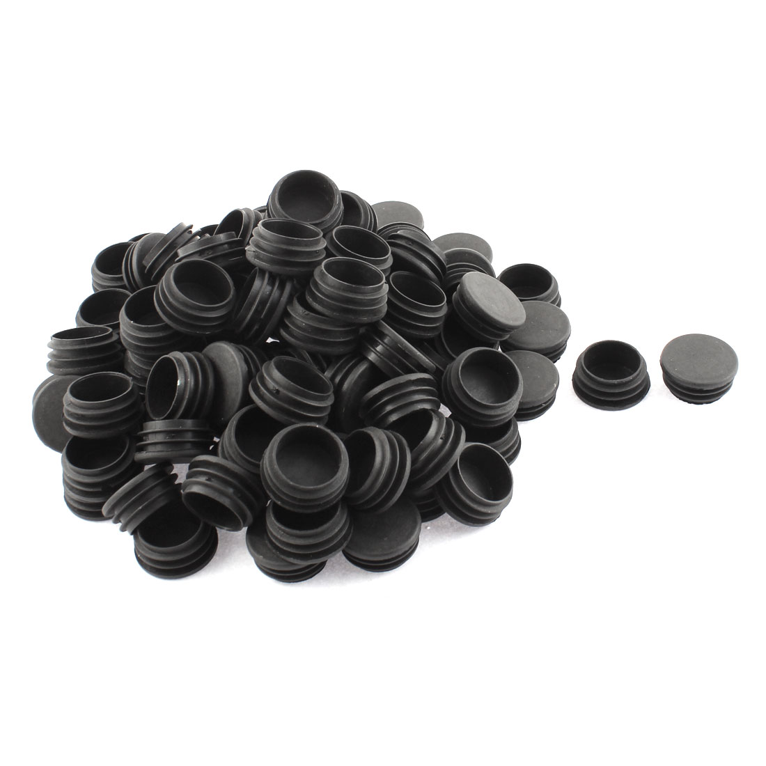 Plastic Round Blanking End Tube Caps Cover Inserts 32mm Dia 100pcs