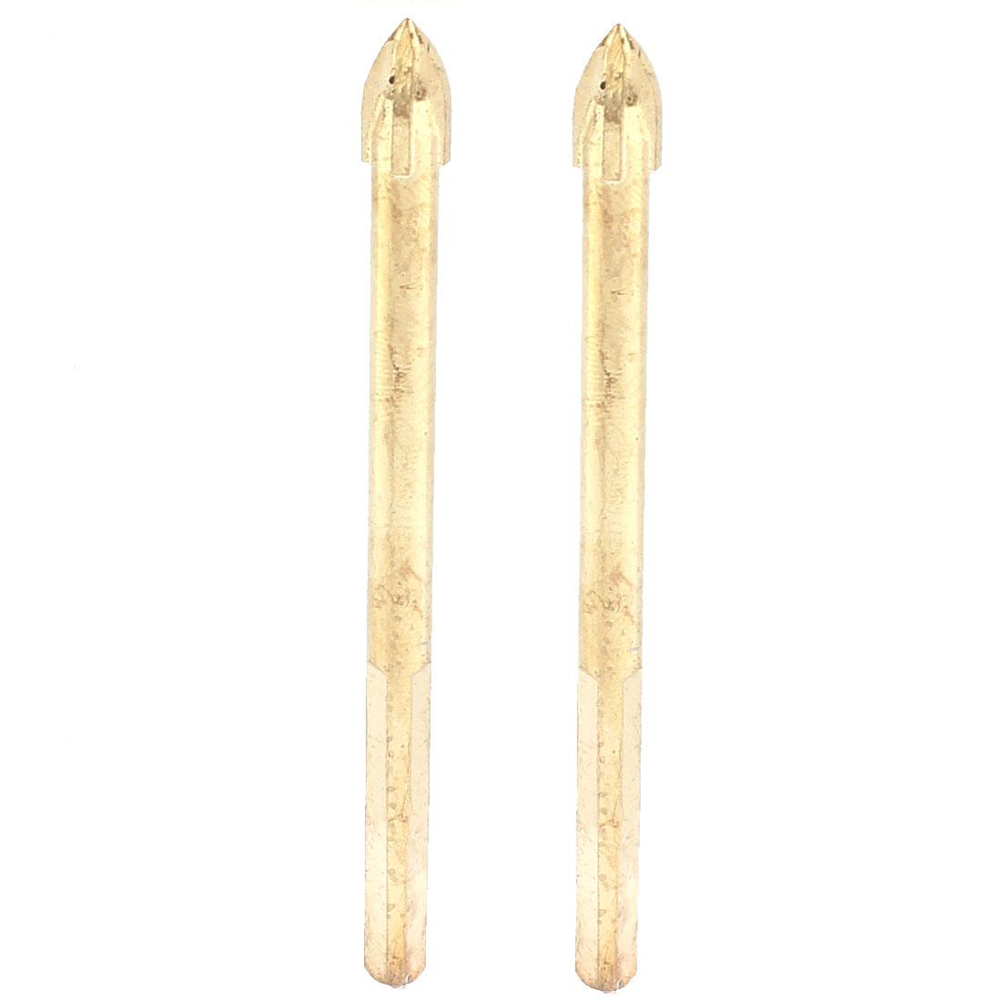 6mm Dia Cross Spear Head Triangle Shank Tile Glass Drill Bit Gold Tone 2pcs