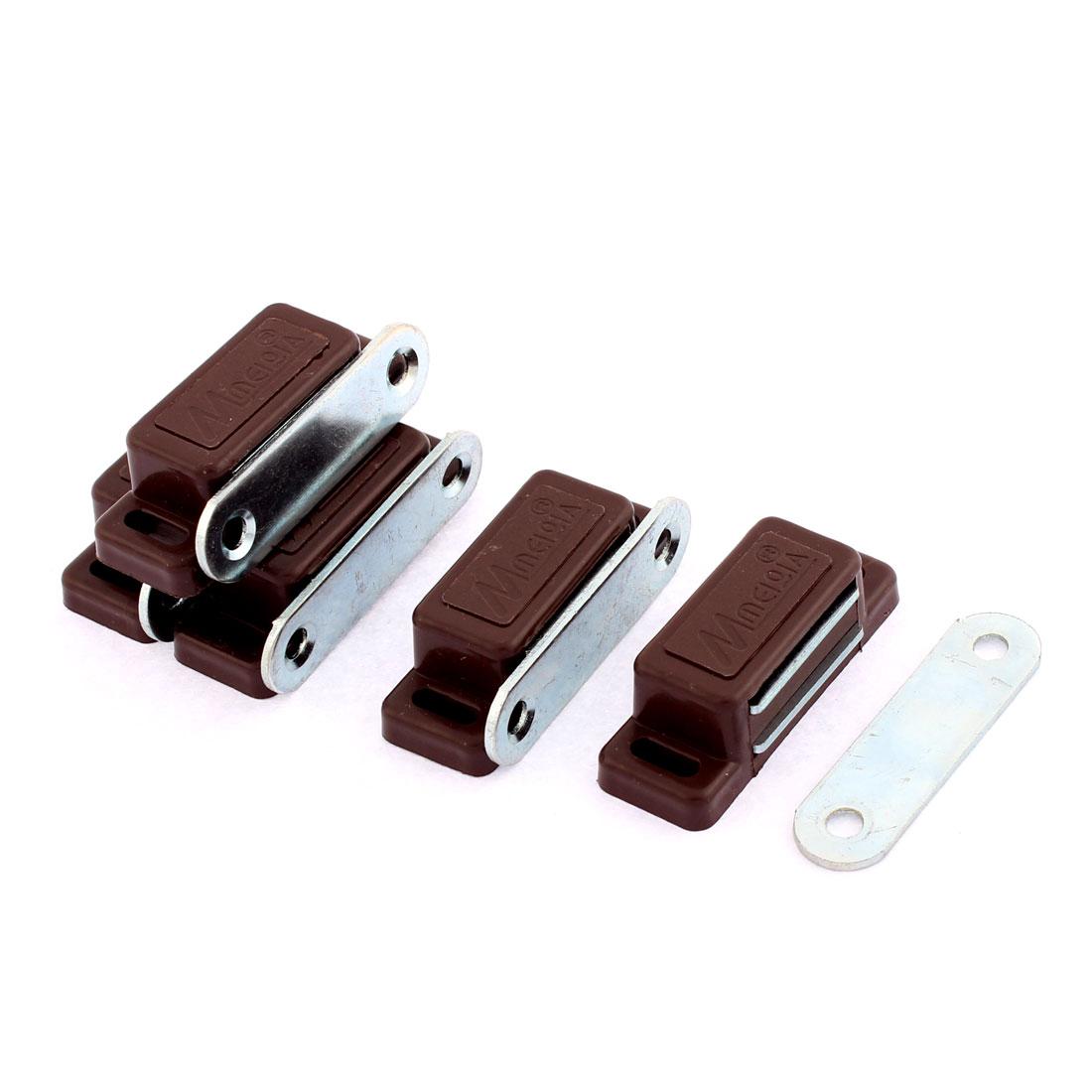 Furniture Magnetic Catch Door Latch 46mm x 17mm Dark Brown 5 Pcs
