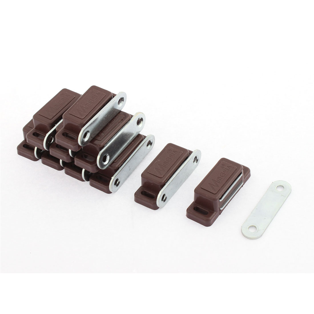 Cupboard Closet Door Magnetic Catch Latch 46mm x 17mm Dark Brown 10pcs