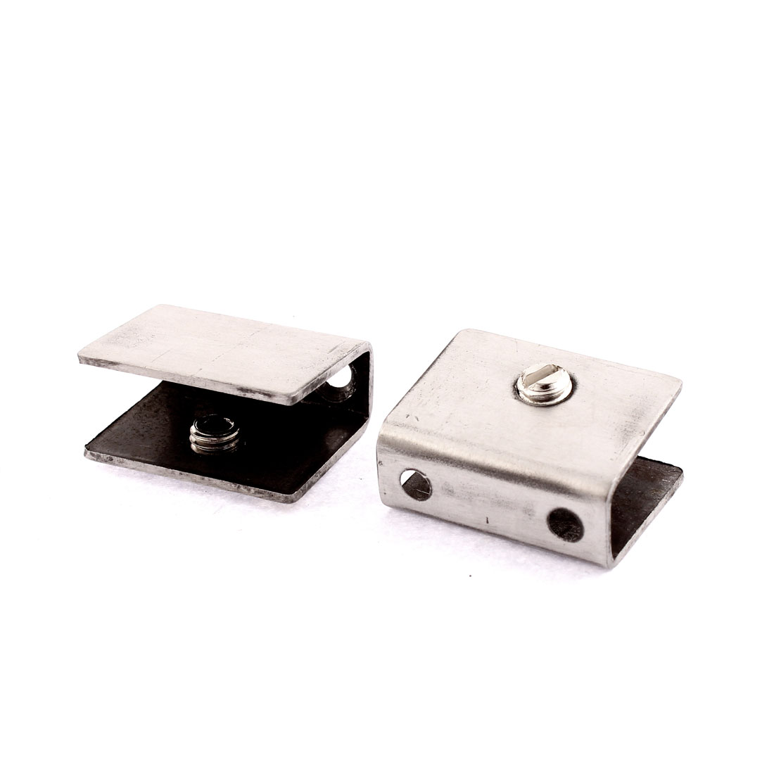 2 Pcs 10mm-12mm Thickness Adjustable Stainless Steel Glass Clip Clamp Shelf