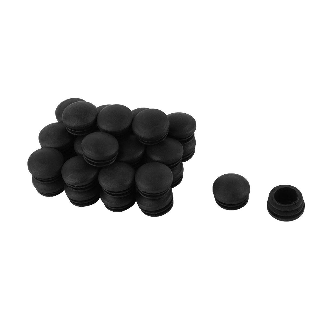 Plastic Blanking End Tube Caps Cover Inserts 25mm Dia Black 30pcs