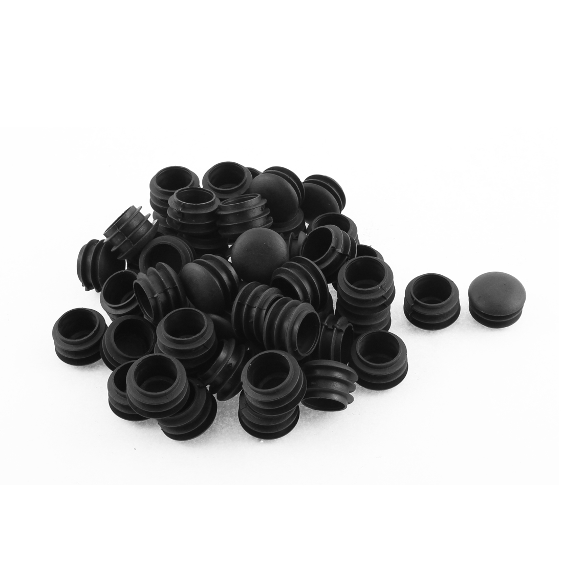 Plastic Round Blanking End Tube Caps Cover Inserts 25mm Dia 50pcs