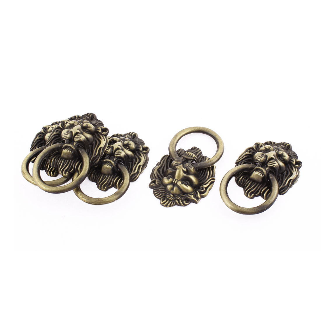 Lion Head Design Metal Pull Knobs Handle 1.5 Inch Dia Bronze Tone 5pcs