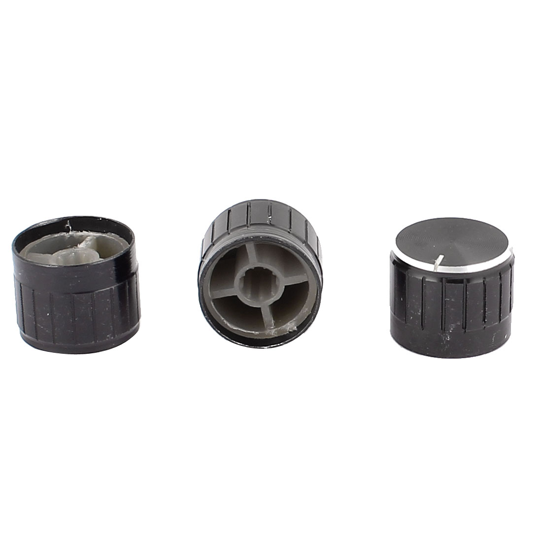 3 Pcs 21mm x 6mm Aluminium Alloy Potentiometer Control Knob Mini Cap Knurled Button Black