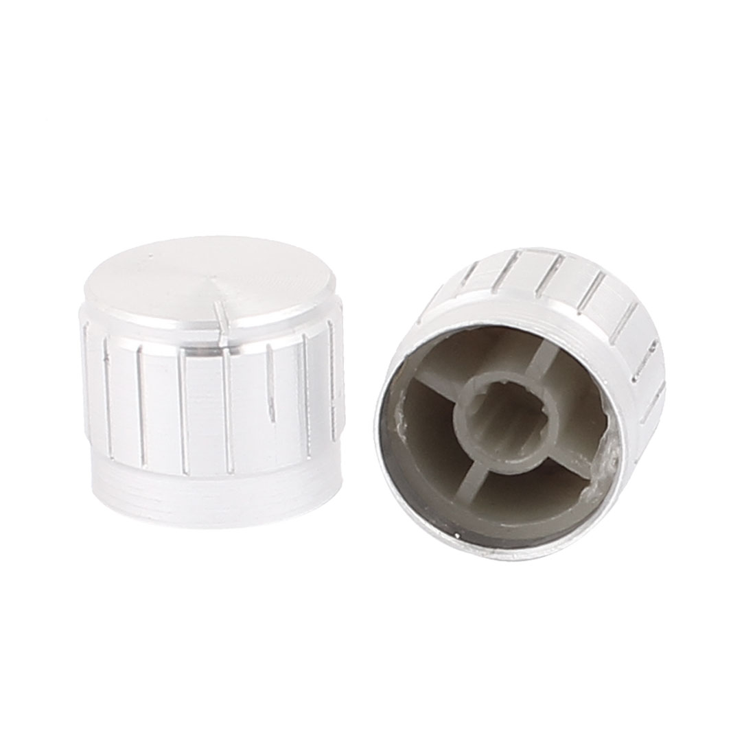 2 Pcs 21mm x 6mm Aluminium Alloy Potentiometer Control Knob Mini Cap Knurled Button Silver Tone