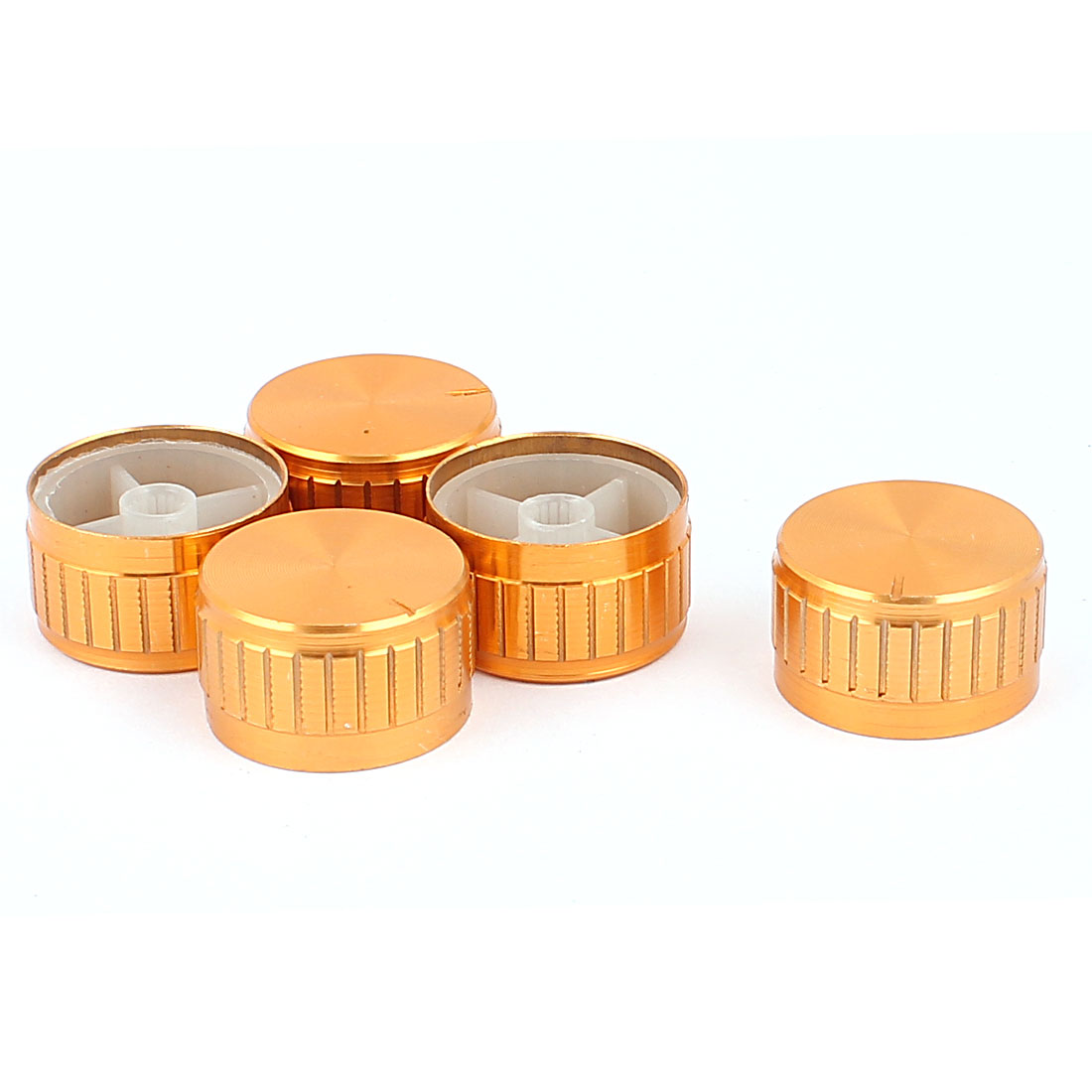 5 Pcs 30mm x 6mm Aluminium Alloy Potentiometer Control Switch Volume Cap Knurled Button Gold Tone