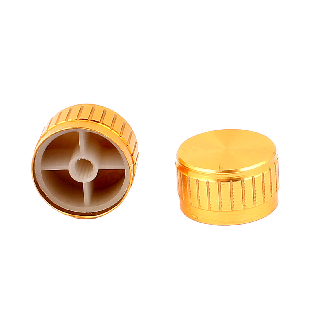 2 Pcs 30mm x 6mm Aluminium Alloy Potentiometer Control Switch Volume Cap Knurled Button Gold Tone