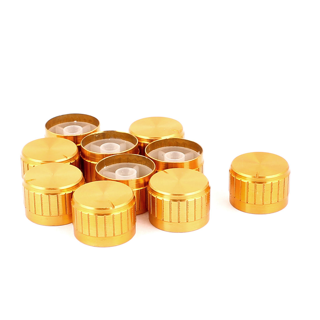 10 Pcs 26mm x 6mm Potentiometer Control Switch Volume Cap Aluminium Alloy Knurled Button Gold Tone