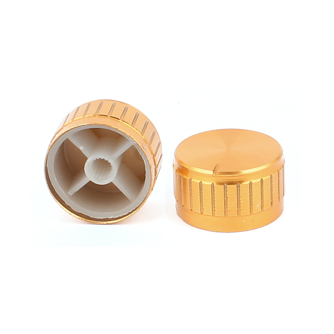 2 Pcs 26mm x 6mm Potentiometer Control Switch Volume Cap Aluminium Alloy Knurled Button Gold Tone