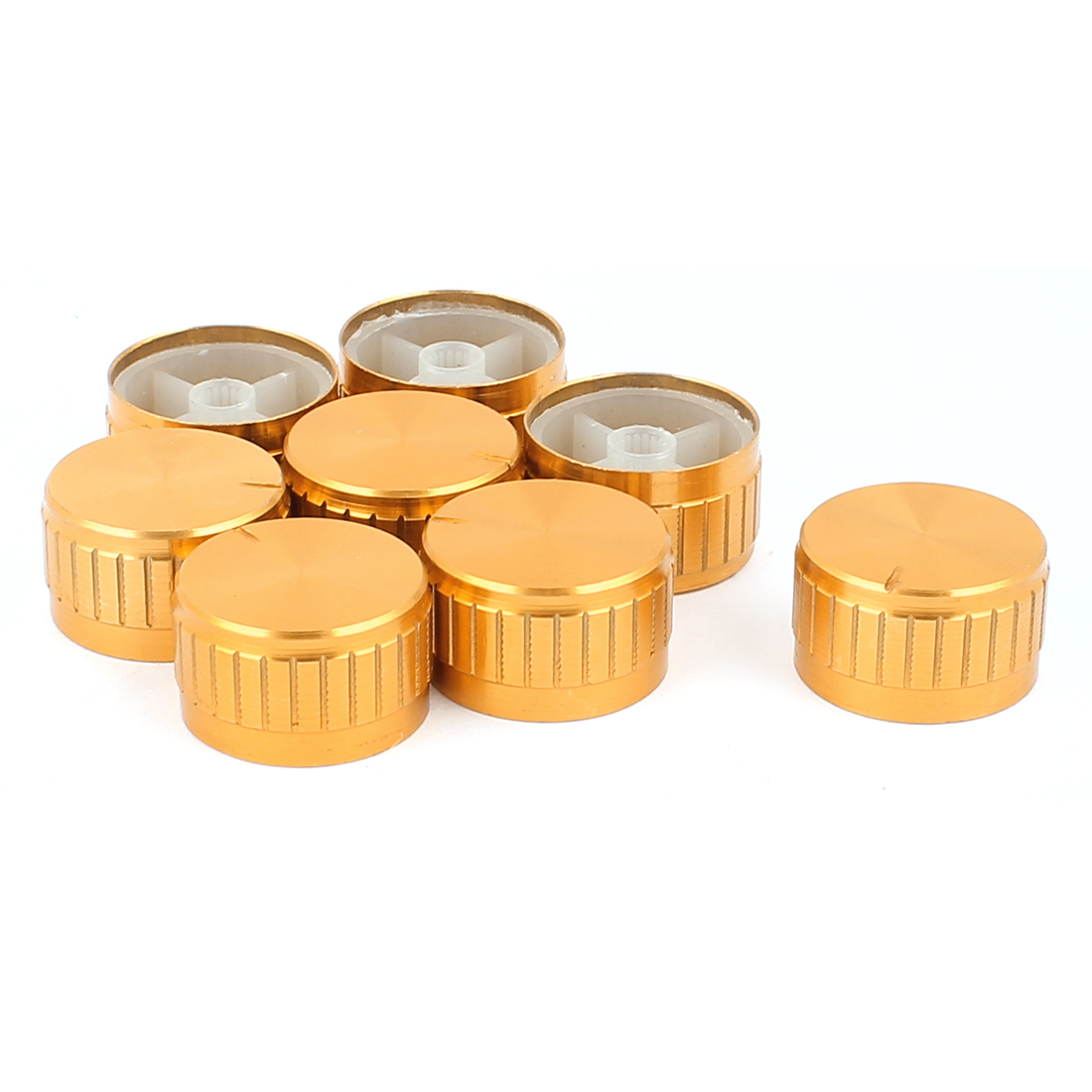 8 Pcs 30mm x 6mm Aluminium Alloy Potentiometer Control Switch Volume Cap Knurled Button Gold Tone