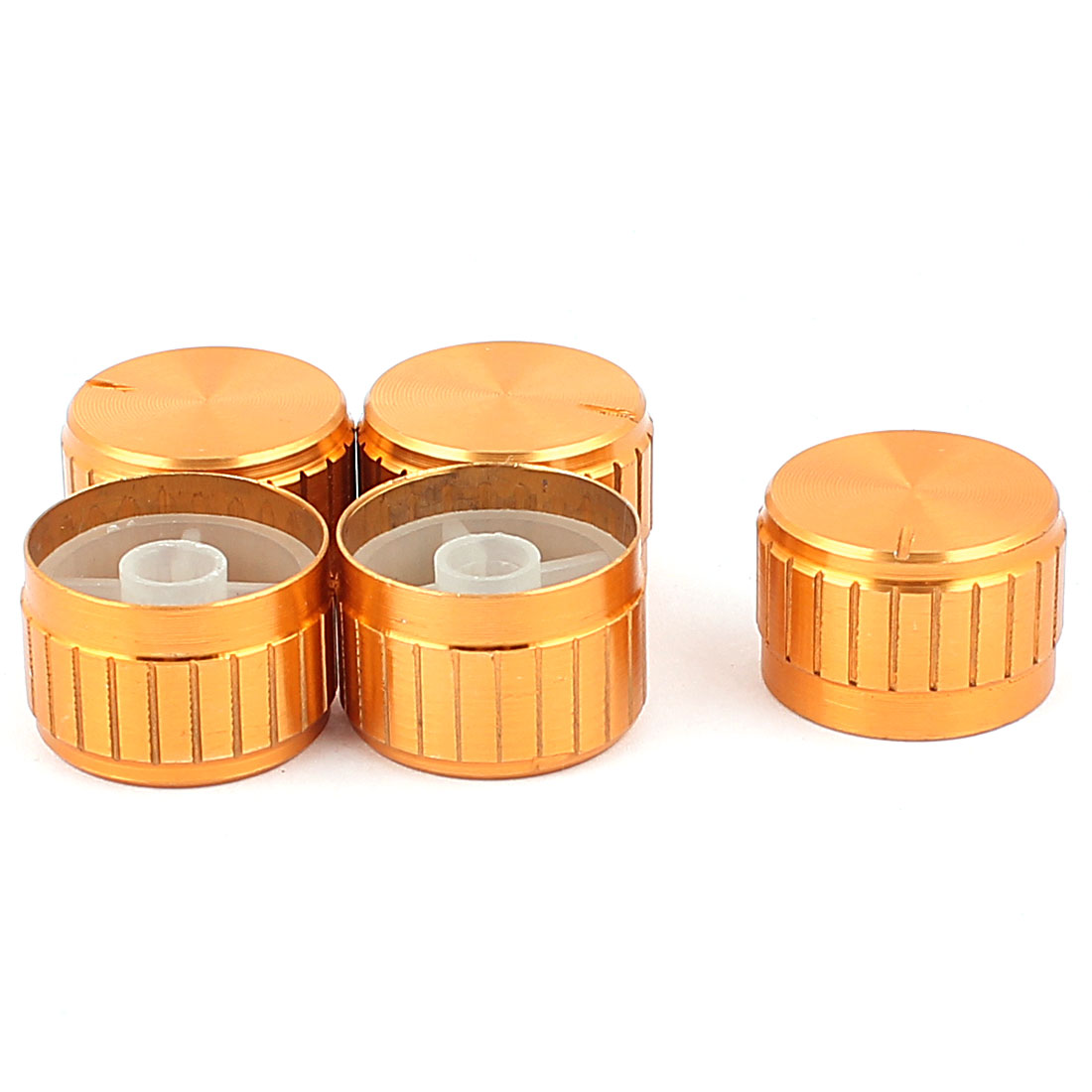 5 Pcs 26mm x 6mm Potentiometer Control Switch Volume Cap Aluminium Alloy Knurled Button Gold Tone