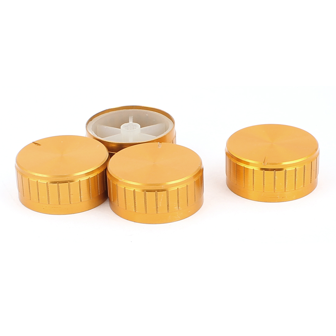 4 Pcs 40mm x 6mm Aluminium Alloy Potentiometer Control Knob Volume Cap Knurled Button Gold Tone