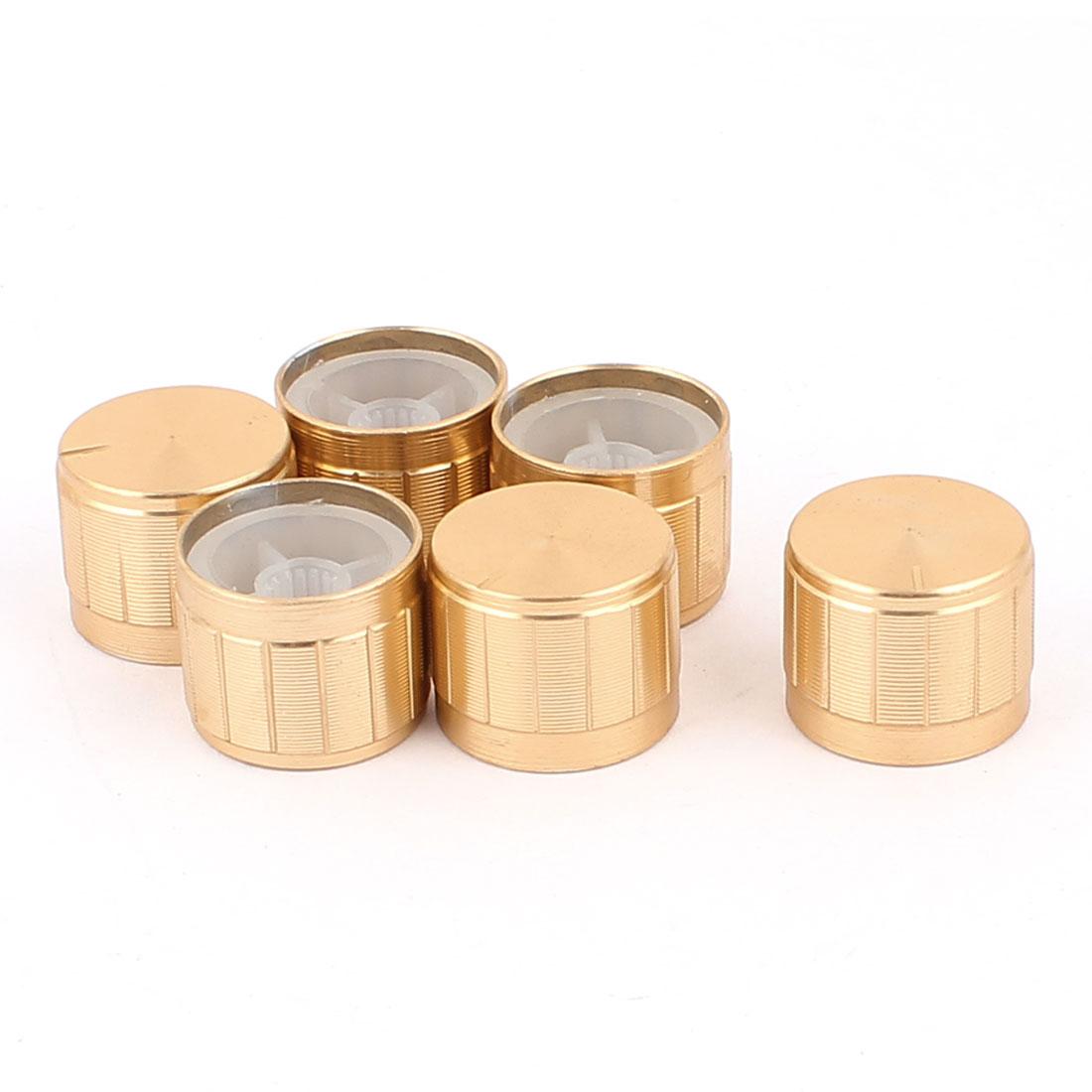 6 Pcs 21mm x 6mm Aluminium Alloy Potentiometer Control Knob Mini Cap Knurled Button Gold Tone