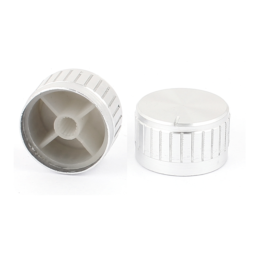2 Pcs 30mm x 6mm Aluminium Alloy Potentiometer Control Switch Volume Cap Knurled Button Silver Tone