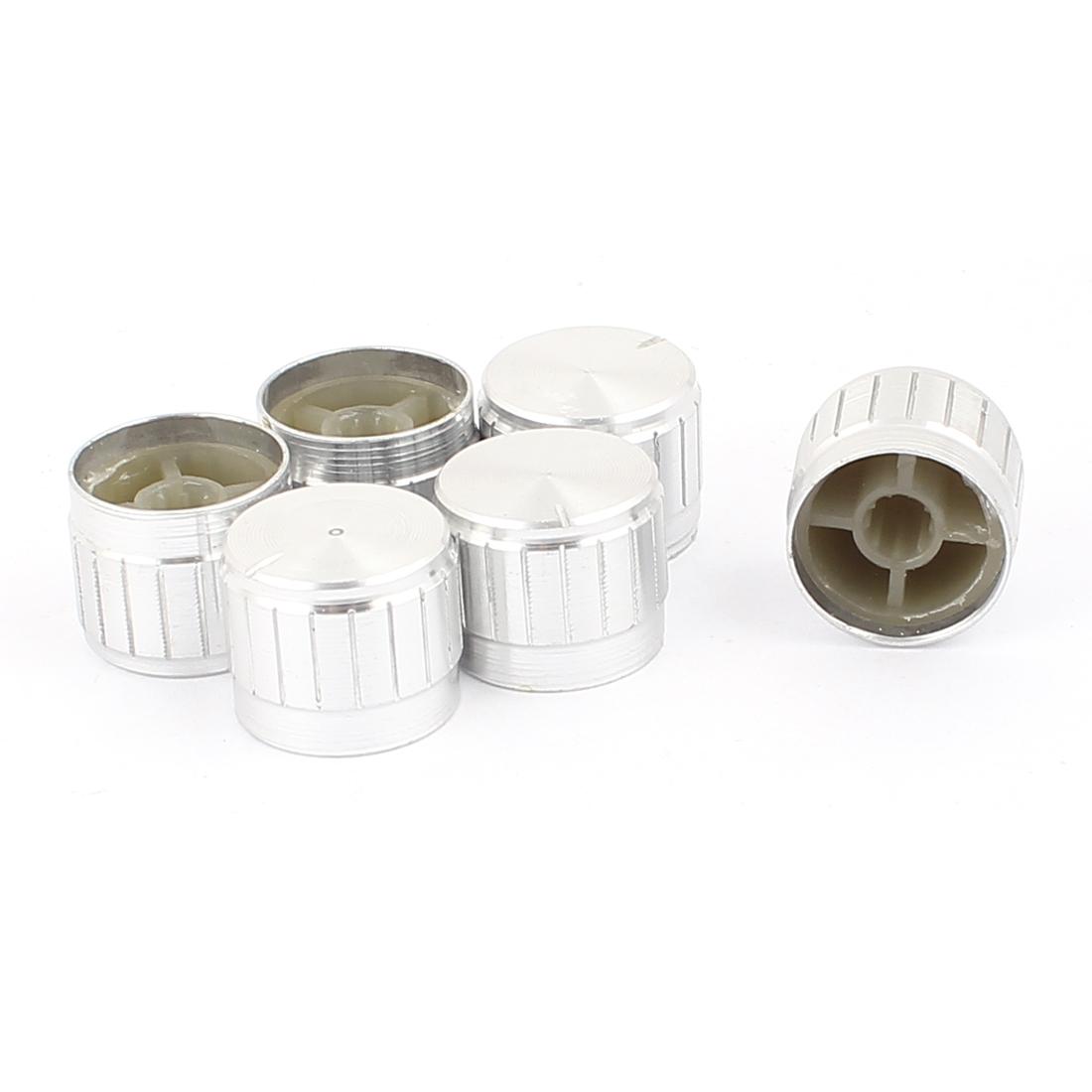 6 Pcs 21mm x 6mm Aluminium Alloy Potentiometer Control Knob Mini Cap Knurled Button Silver Tone