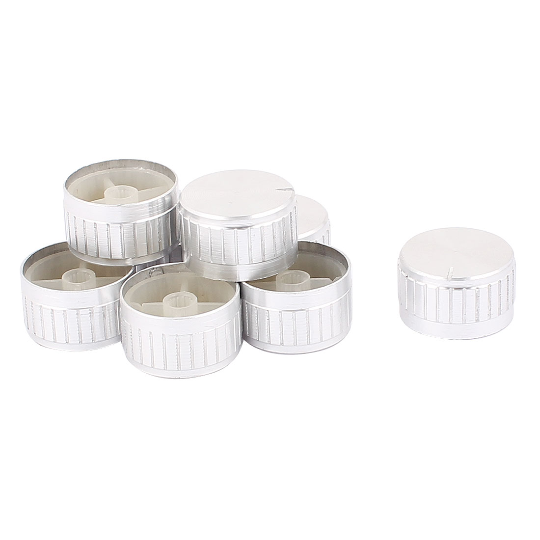 8 Pcs 30mm x 6mm Aluminium Alloy Potentiometer Control Switch Volume Cap Knurled Button Silver Tone