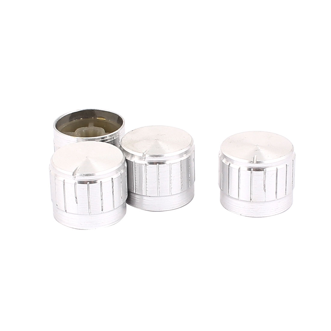 4 Pcs 21mm x 6mm Aluminium Alloy Potentiometer Control Knob Mini Cap Knurled Button Silver Tone