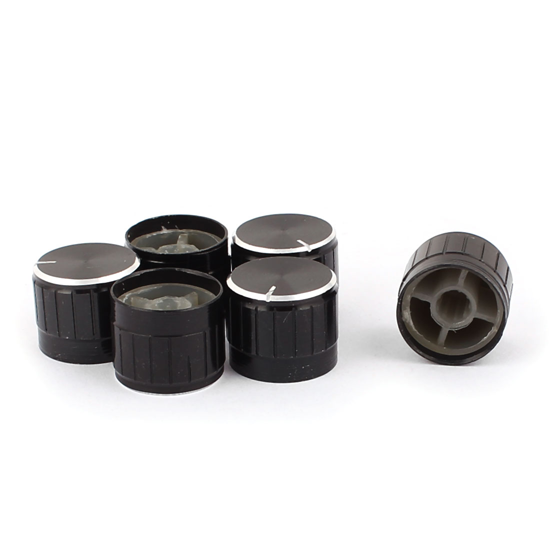 6 Pcs 21mm x 6mm Aluminium Alloy Potentiometer Control Knob Mini Cap Knurled Button Black