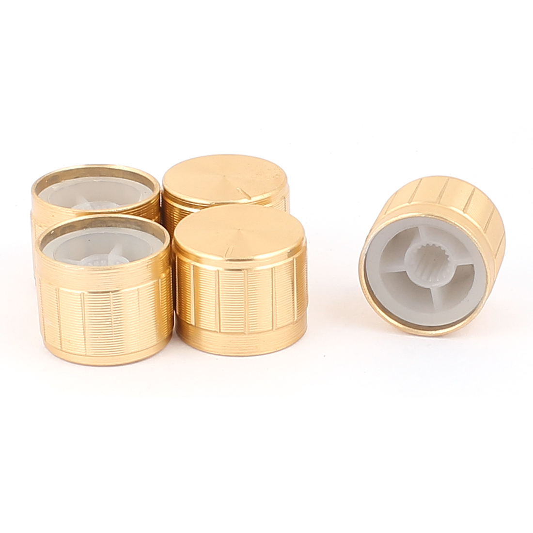 5 Pcs 21mm x 6mm Aluminium Alloy Potentiometer Control Knob Mini Cap Knurled Button Gold Tone