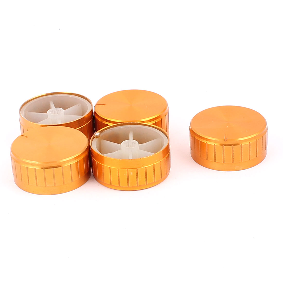 5 Pcs 40mm x 6mm Aluminium Alloy Potentiometer Control Knob Volume Cap Knurled Button Gold Tone