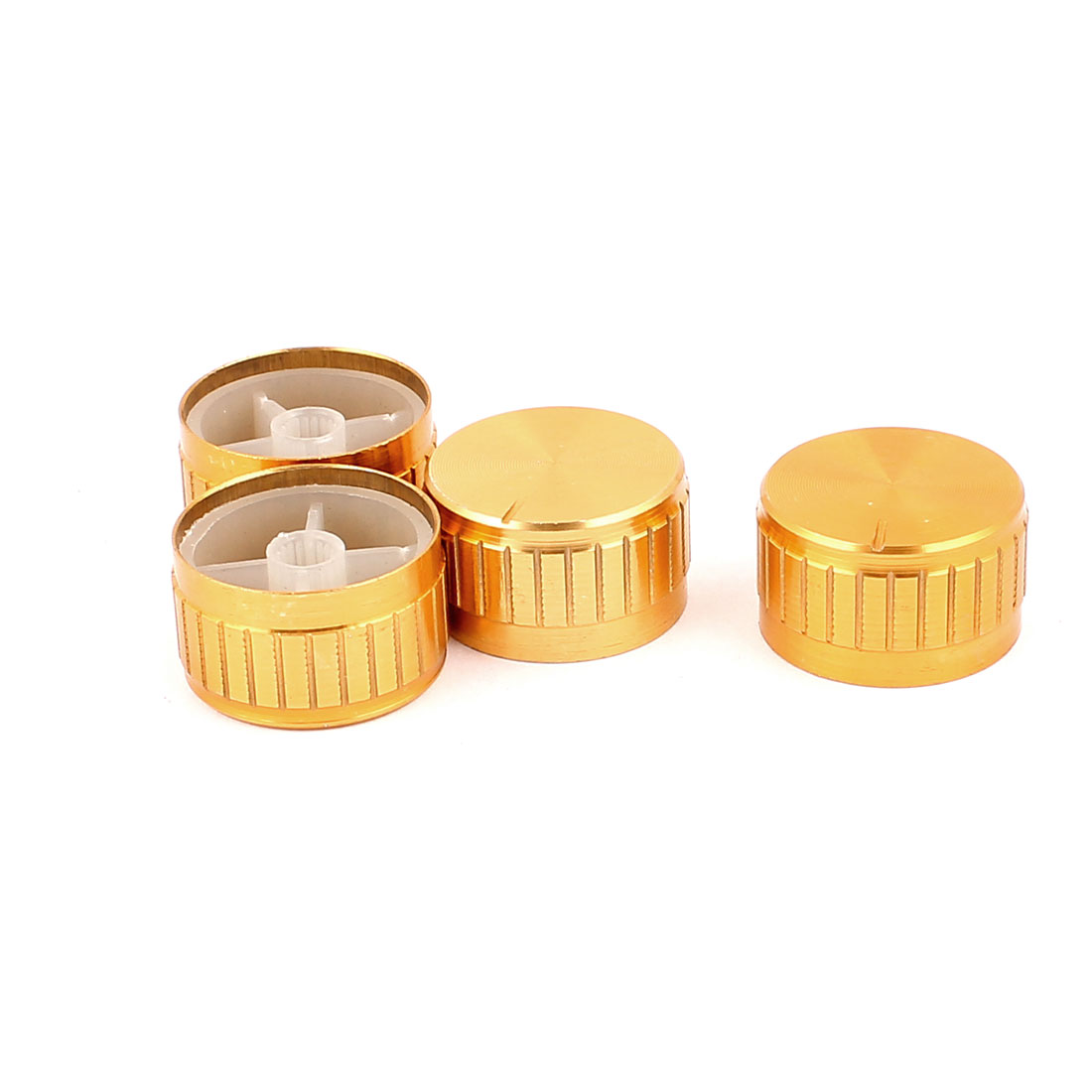 4 Pcs 30mm x 6mm Aluminium Alloy Potentiometer Control Switch Volume Cap Knurled Button Gold Tone