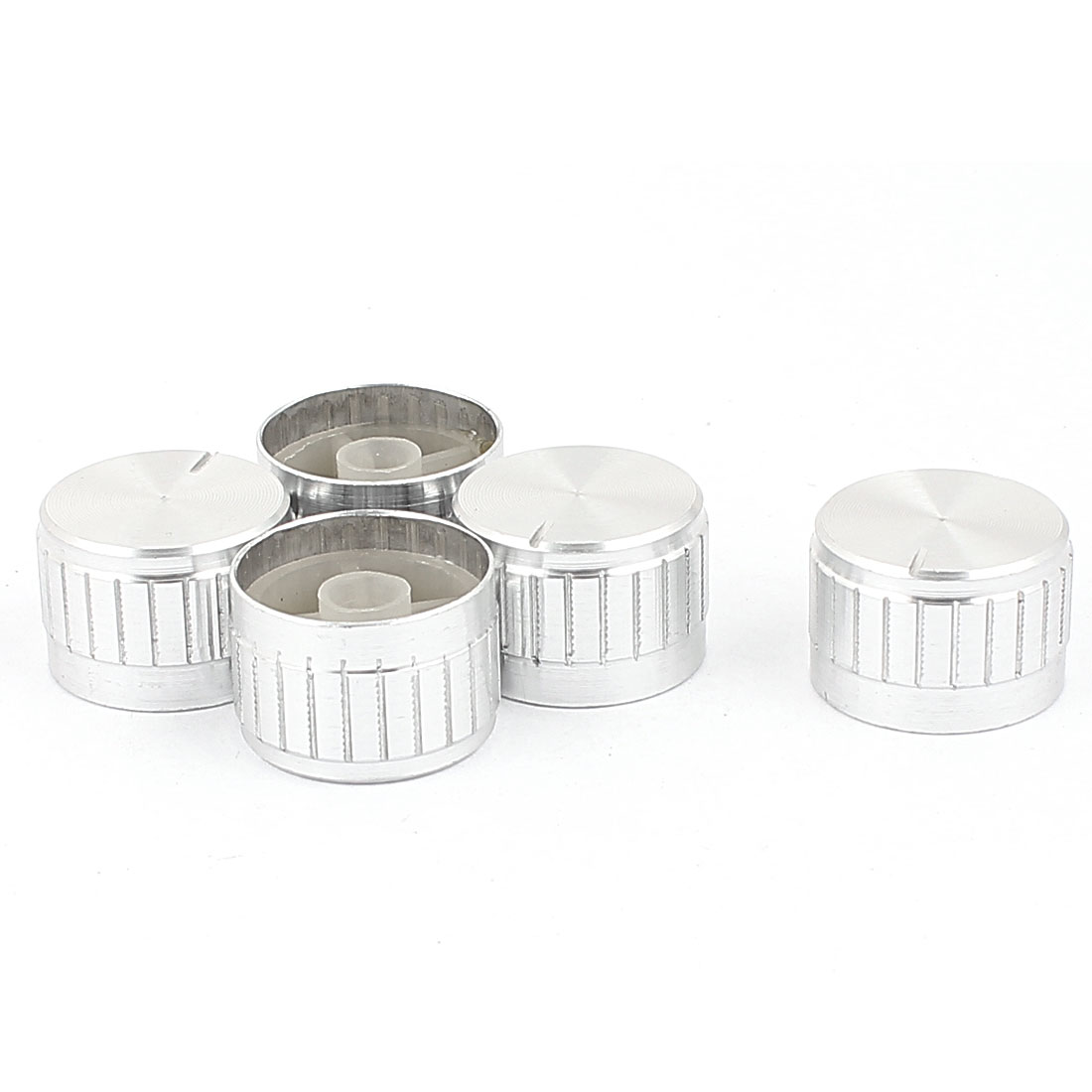 5 Pcs 26mm x 6mm Potentiometer Control Switch Volume Cap Aluminium Alloy Knurled Button Silver Tone