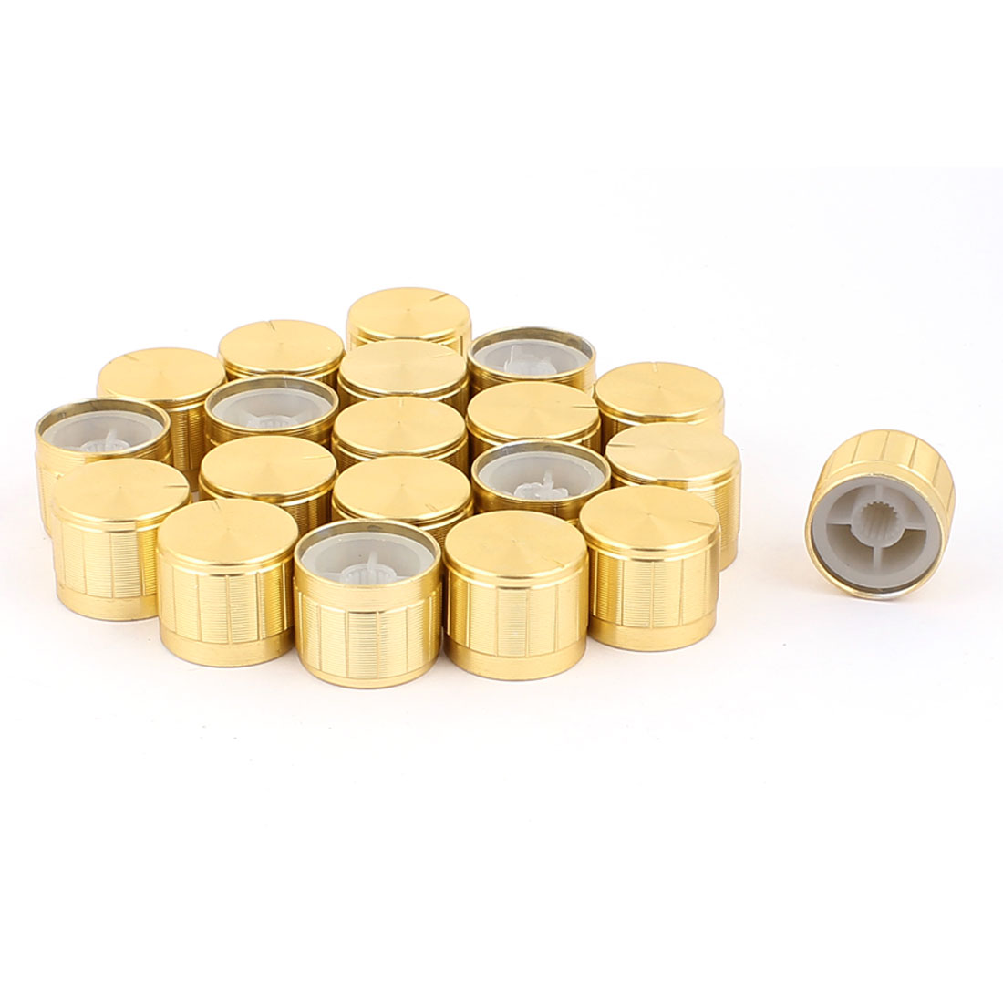 20 Pcs 21mm x 6mm Aluminium Alloy Potentiometer Control Knob Mini Cap Knurled Button Gold Tone