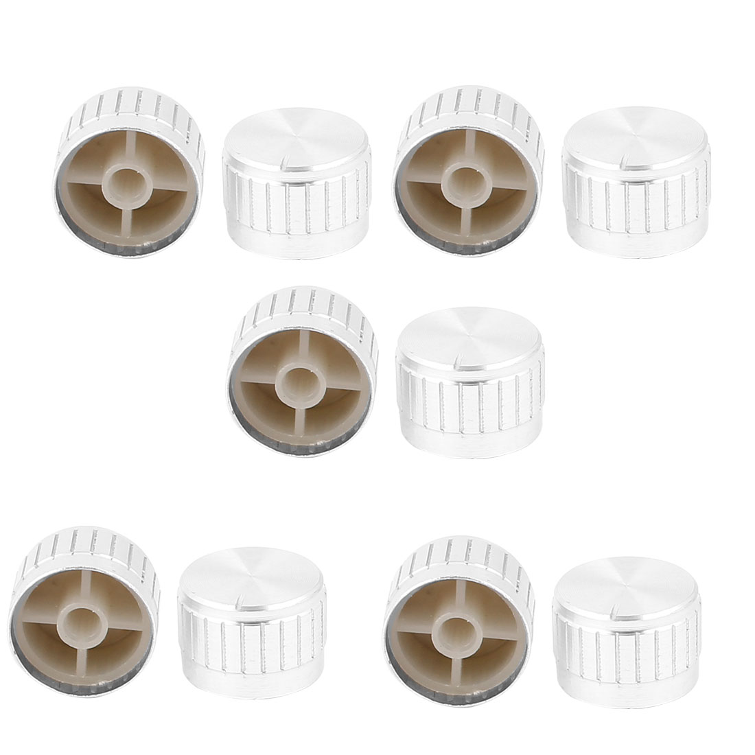 10 Pcs 26mm x 6mm Potentiometer Control Switch Volume Cap Aluminium Alloy Knurled Button Silver Tone
