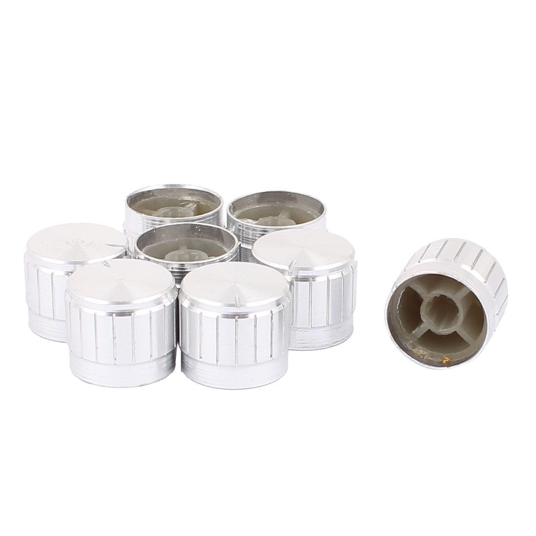 8 Pcs 21mm x 6mm Aluminium Alloy Potentiometer Control Knob Mini Cap Knurled Button Silver Tone