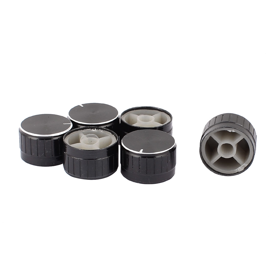6 Pcs 26mm x 6mm Potentiometer Control Switch Volume Cap Aluminium Alloy Knurled Button Black