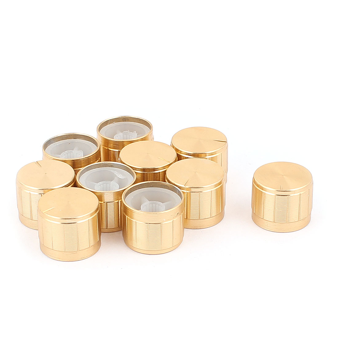 10 Pcs 21mm x 6mm Aluminium Alloy Potentiometer Control Knob Mini Cap Knurled Button Gold Tone