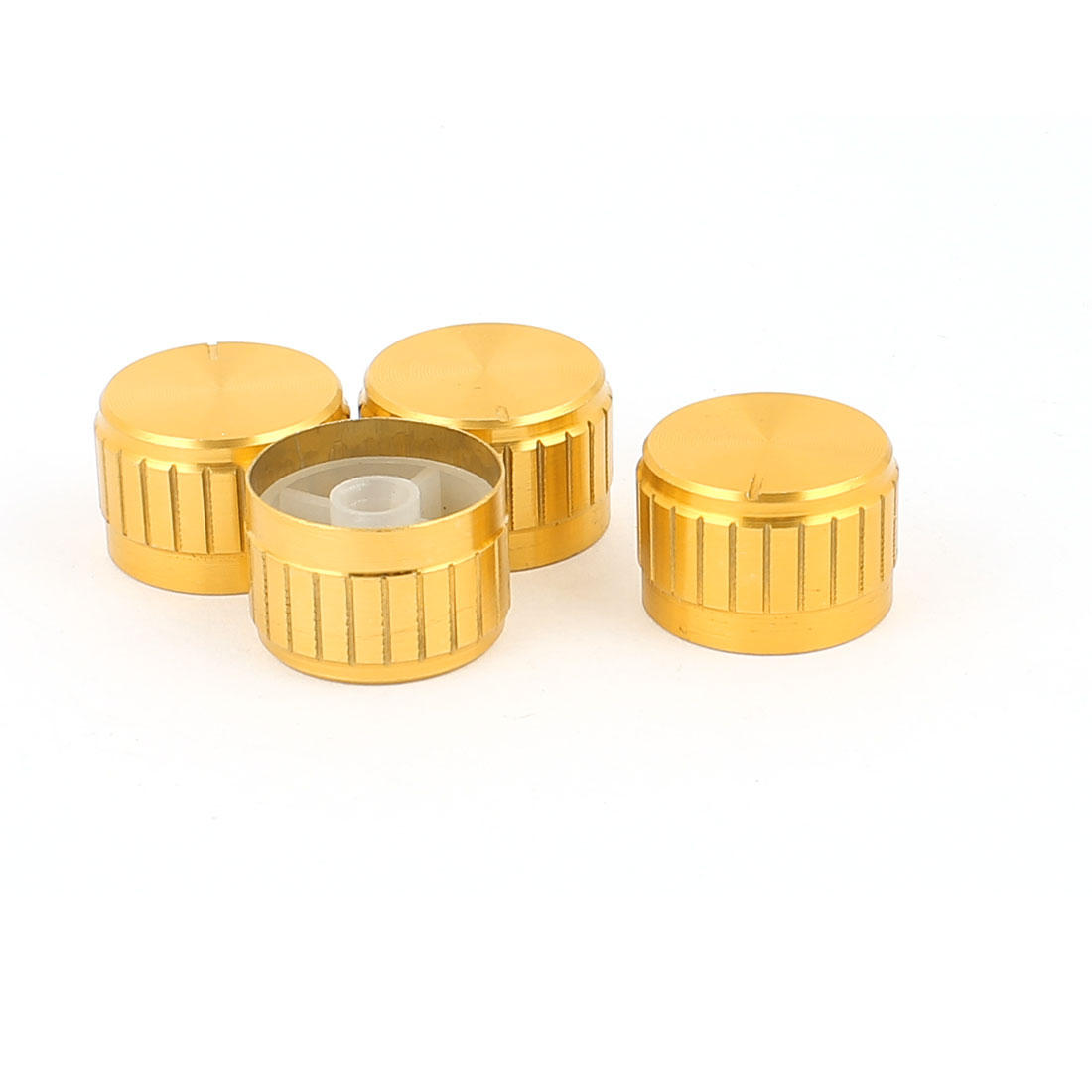 4 Pcs 26mm x 6mm Potentiometer Control Switch Volume Cap Aluminium Alloy Knurled Button Gold Tone