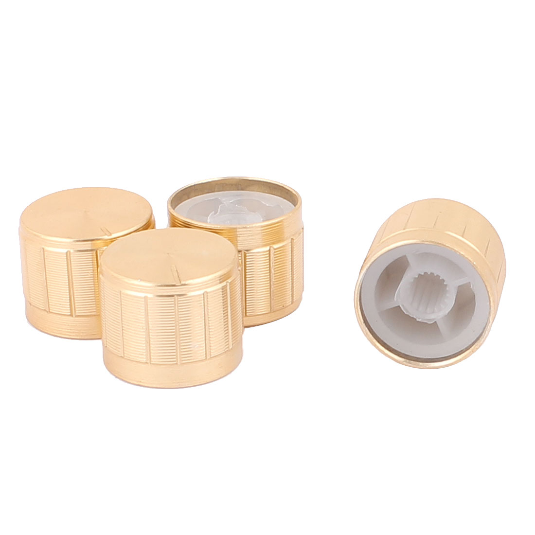 4 Pcs 21mm x 6mm Aluminium Alloy Potentiometer Control Knob Mini Cap Knurled Button Gold Tone