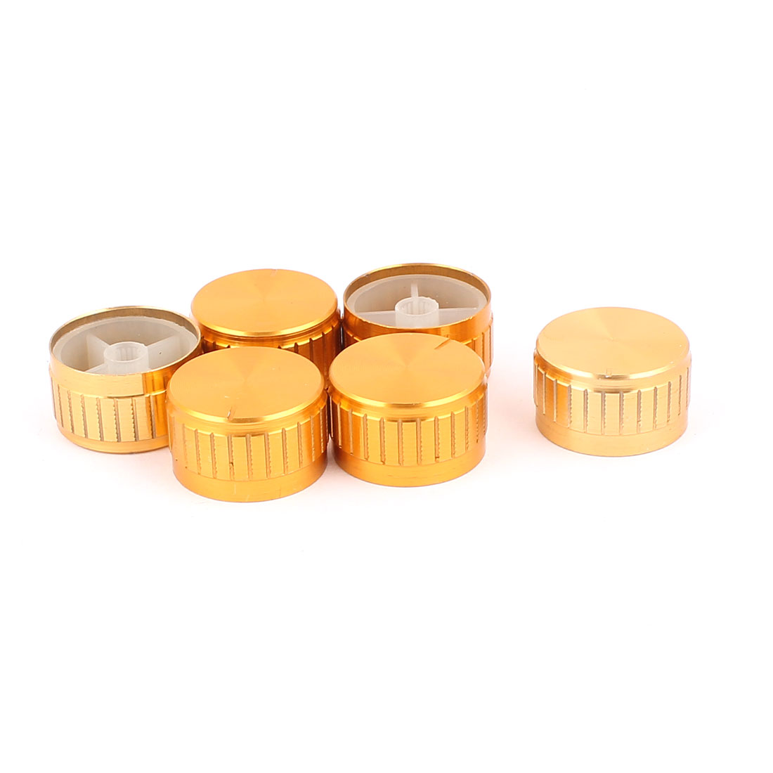 6 Pcs 30mm x 6mm Aluminium Alloy Potentiometer Control Switch Volume Cap Knurled Button Gold Tone