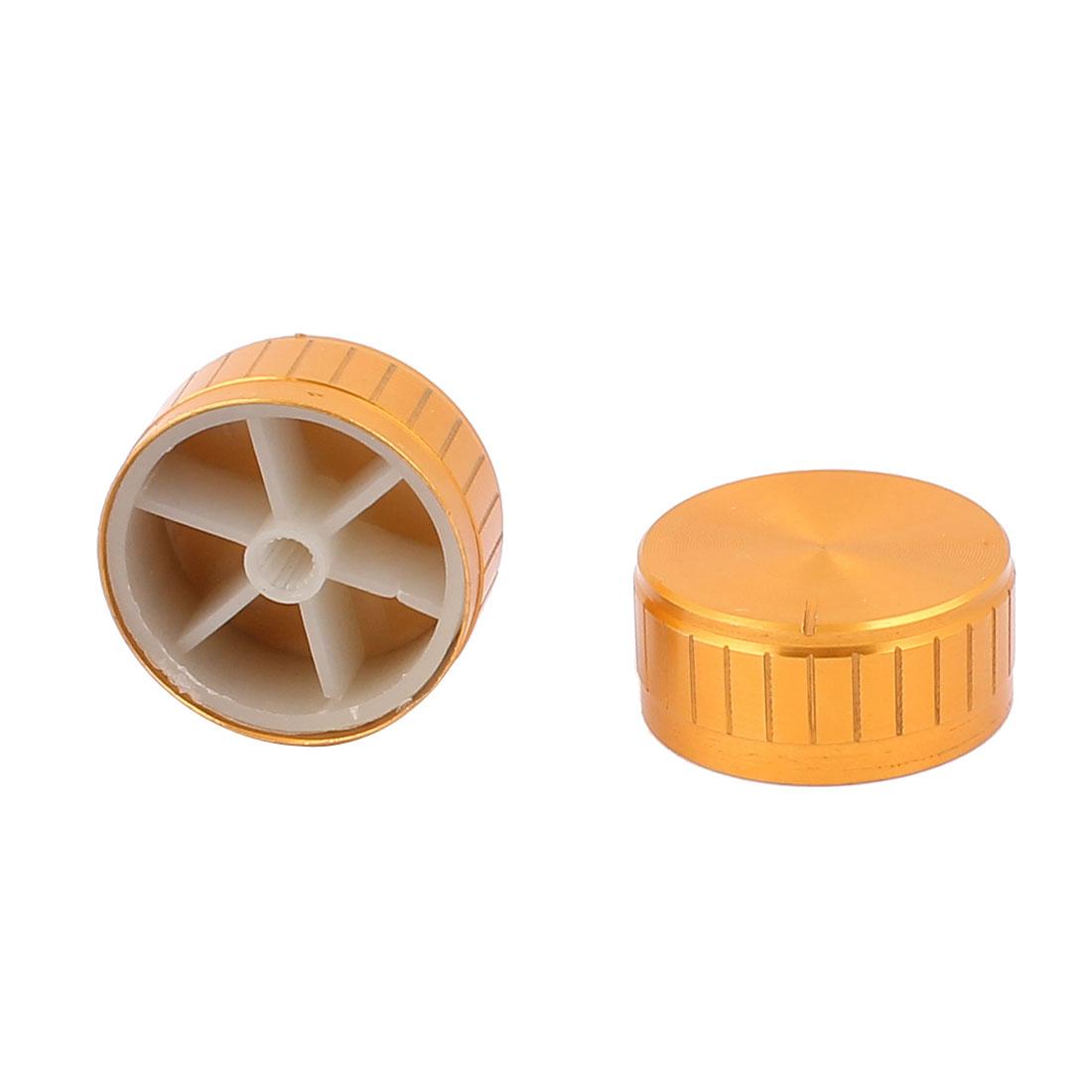 2 Pcs 40mm x 6mm Aluminium Alloy Potentiometer Control Knob Volume Cap Knurled Button Gold Tone